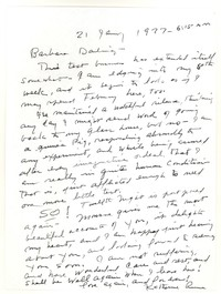 Letter from Katherine Anne Porter to Barbara Harrison Wescott, January 21, 1977