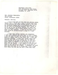Letter from Katherine Anne Porter to Barbara Thompson Mueenuddin Davis, December 11, 1974