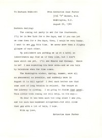 Letter from Katherine Anne Porter to Barbara Harrison Wescott, August 26, 1944