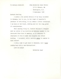 Letter from Katherine Anne Porter to Barbara Harrison Wescott, September 06, 1962