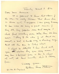 Letter from Katherine Anne Porter to Barbara Harrison Wescott, March 08, 1932
