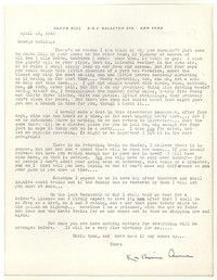 Letter from Katherine Anne Porter to George Platt Lynes, April 26, 1943