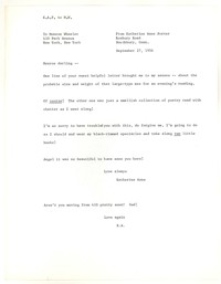 Letter from Katherine Anne Porter to Monroe Wheeler, September 27, 1956