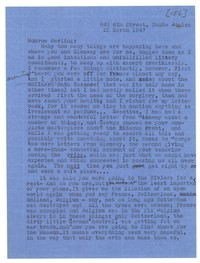 Letter from Katherine Anne Porter to Monroe Wheeler, March 12, 1947