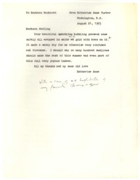 Letter from Katherine Anne Porter to Barbara Harrison Wescott, August 21, 1965