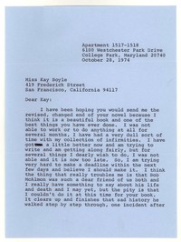 Letter from Katherine Anne Porter to Kay Boyle, October 28, 1974