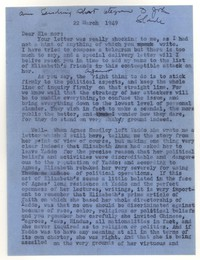 Letter from Katherine Anne Porter to Eleanor Clark, March 22, 1949