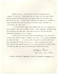 Letter from Katherine Anne Porter to George Platt Lynes, January 30, 1944