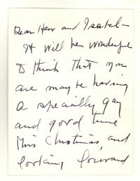 Letter from Katherine Anne Porter to Isabel Bayley and W. Hewitt Bayley, December 25, 1957