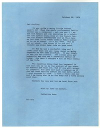 Letter from Katherine Anne Porter to Robert Penn Warren, October 28, 1976
