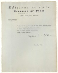 Letter from Katherine Anne Porter to Harrison of Paris, May 31, 1932