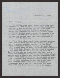 Letter from Katherine Anne Porter to Paul Porter Jr., November 11, 1974