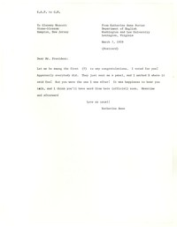 Letter from Katherine Anne Porter to Glenway Wescott, April 29, 1958