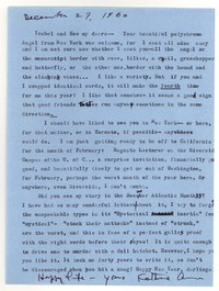 Letter from Katherine Anne Porter to Isabel Bayley and W. Hewitt Bayley, December 27, 1960