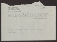Letter from Katherine Anne Porter to Gertrude Beitel, October 20, 1958