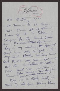 Letter from Katherine Anne Porter to Paul Porter Jr., October 22, 1956