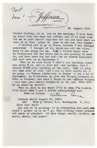 Letter from Katherine Anne Porter to Isabel Bayley, August 28, 1959