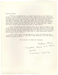 Letter from Katherine Anne Porter to George Platt Lynes, April 29, 1941