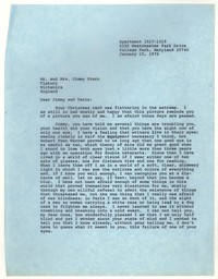 Letter from Katherine Anne Porter to James Stern and Tania Stern, January 15, 1976