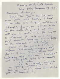 Letter from Katherine Anne Porter to Barbara Harrison Wescott, December 17, 1943