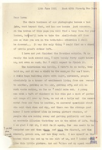 Letter from Katherine Anne Porter to William Goyen, June 12, 1951