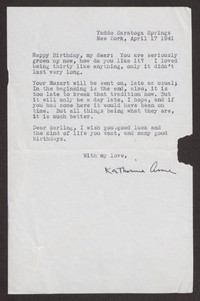 Letter from Katherine Anne Porter to Albert Erskine, April 17, 1941