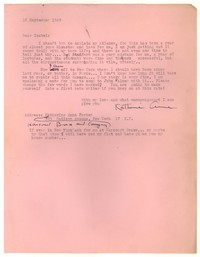 Letter from Katherine Anne Porter to Isabel Bayley, September 16, 1949