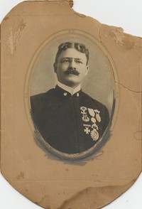 Portrait (bust, 3.5''x5'') of Herbert Clarke, showing medals on uniform. No photographer or date