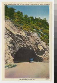 Approaching one of the tunnels on the Blue Ridge Parkway, circa 1930-1941