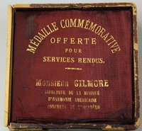 "Medal (bronze, 3 3/8'' diam.) in covered wooden case. Medal bears motto ""Exposition Universelle International, MDCCCLXXVIII"" on the front and ""Republique Francaise"" on back"