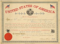Certificate of U.S. citizenship, granted to Patrick S. Gilmore October 21, 1874, at the Superior Court of the city and county of New York. Mounted in mat