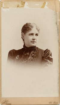 Portrait (bust, 7''x11'') of Mrs. Gilmore. Photograph by Strauss, 1245 and 1247 Franklin Avenue, St. Louis