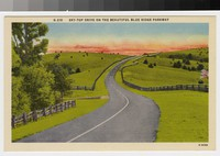 Sky-top drive on the beautiful Blue Ridge Parkway, North Carolina, circa 1930-1945