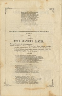 Program from Inauguration Ceremonies of the Hon. Michael Hahn as Governor of Louisiana, New Orleans, March 4, 1864. Musical part of the exercise conducted by Gilmore