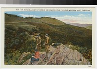 Mount Mitchell and motor road as seen from the Pinnacle, Western North Carolina, circa 1930-1945