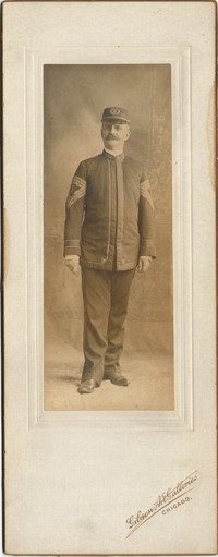 Portrait (full, 2 1/8''x5 1/2'') of [Levy?] in uniform, without medals. Photograph by Gibson Art Galleries, Chicago. Mounted. No date