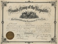Certificate of commission, appointing P.S. Gilmore Aid-de-Camp of the Grand Army of the Republic, New York Department; given at Albany, March 7, 1889. Mounted in mat