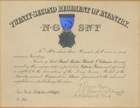 Certificate of decoration in silver to Bandmaster Patrick S. Gilmore for long service in the 22nd Regiment of Infantry. [Service dating from October 1, 1873 as No. 23?]; committee signature 1891[?]. Mounted in mat