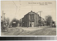 View at corner of Perry and Main Streets, Fostoria, Ohio, 1907-1914