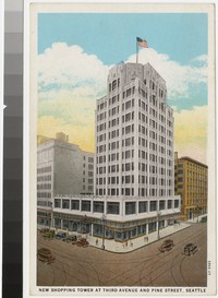 New shopping tower at Third Avenue and Pine Street, Seattle, Washington, 1929-1930