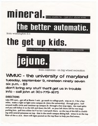 Mineral, The Better Automatic, The Get Up Kids, and Jejune concert flier, University of Maryland, College Park, Maryland, September 9, 1997