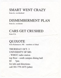 Smart Went Crazy and Dismemberment Plan concert flier, University of Maryland, College Park, Maryland, October 3, 1996