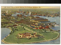 Aerial view of harbor showing Fort McHenry, Baltimore, Maryland, 1930-1944