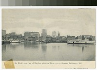Bird's-eye view of Harbor, showing Skyscrapers, Baltimore, Maryland, 1901-1907
