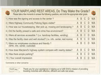 Maryland's welcome centers and rest areas rating form, State Highway Administration, 1970-1990