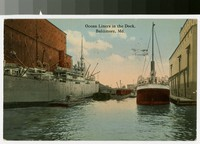 Ocean liners in the dock, Baltimore, Maryland, 1907-1914