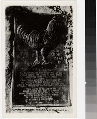 Rhode Island Red commemorative tablet, Adamsville, Rhode Island, 1935-1950