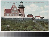 South lighthouse, seen from the landhouse, Block Island, Rhode Island, 1907-1910