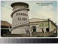 Bamboo slide and music hall, Crescent Park, Rhode Island, 1907-1914