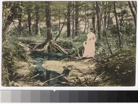 Woman in woods, Harrisville, Rhode Island, 1907-1914